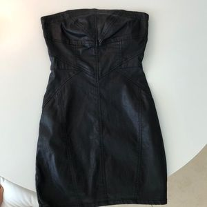 Denim leather slight shimmer bodycon dress.